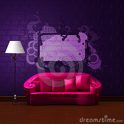 Pink couch with empty frame