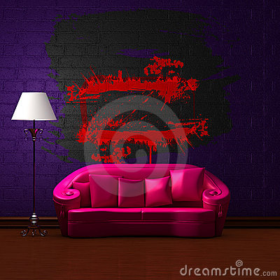 Pink couch with empty frame and standard lamp