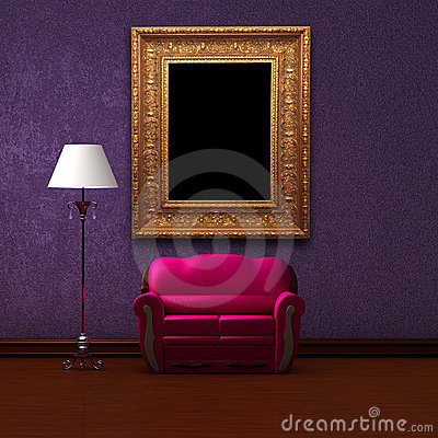 Pink couch and standard lamp with picture frame
