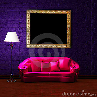 Free Pink Couch With Empty Frame And Standard Lamp Stock Photos - 14974203