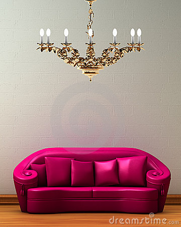Free Pink Couch With Golden Chandelier Royalty Free Stock Photos - 9888498