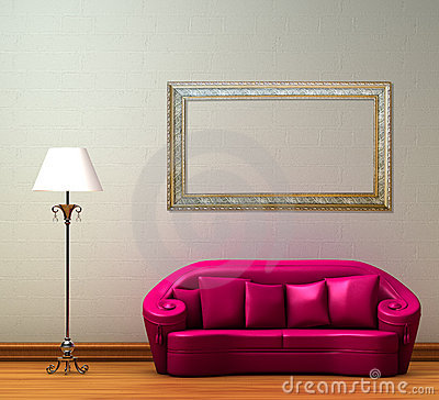 Free Pink Couch With Standard Lamp Royalty Free Stock Photo - 10941885