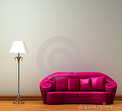 Free Pink Couch With Standard Lamp Stock Photo - 9828550