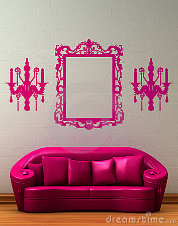 Free Pink Couch With Standard Lamp Stock Photos - 9895873