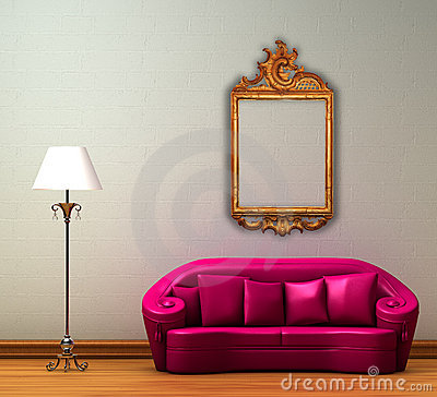 Free Pink Couch With Standard Lamp And Antique Frame Stock Image - 12649361