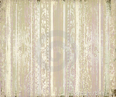 Pink and cream grunge scrollwork stripes