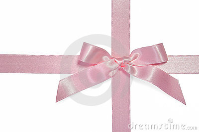 Pink cross ribbon with bow