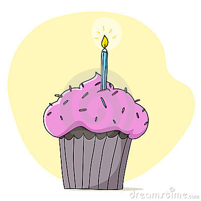 Cupcake and candle illustration