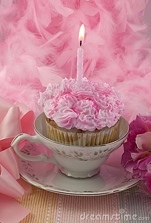 One Birthday Candle Clipart Pink Cupcake With Cand...
