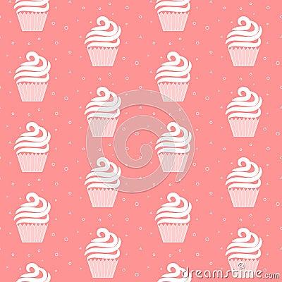 Free Pink Cupcake Seamless Pattern. Sweet Cake Texture Design. Stock Images - 70906424