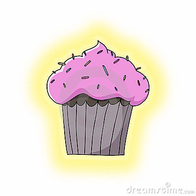 Cupcake with sprinkles on top illustration