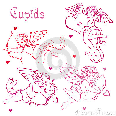 Free Pink Cupids And Hearts. Silhouettes Of Angels. Stock Photo - 36731620