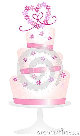 Pink Daisy Heart Cake