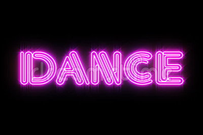 Pink DANCE Neon sign. A flickering and glowing neon sign that says DANCE. Loopable vector illustration