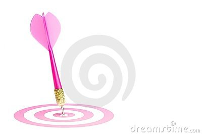 Pink dart hitting the center of the target.