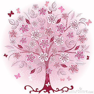 Free Pink Decorative Spring Tree Royalty Free Stock Images - 23821579