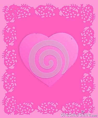 Pink Doily Grunge Valentine