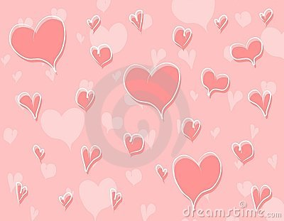 Pink Doodle Hearts Background Pattern