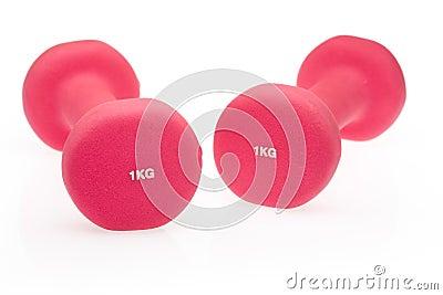 Pink dumbbells