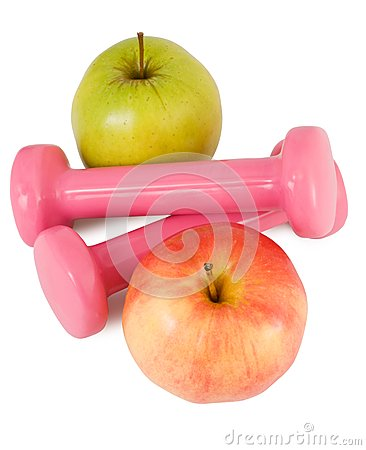 Pink dumbbells and apples