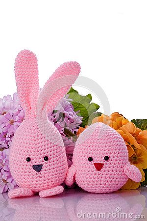 Free Pink Easter Bunny And Chick  With Flower Stock Photography - 30026262