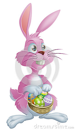 Pink Easter bunny with eggs
