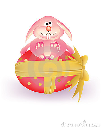 Pink Easter egg with ribbon and pink carton bunny