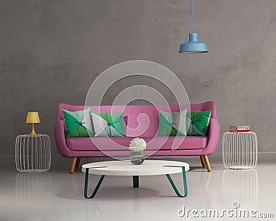 Pink elegant modern sofa interior