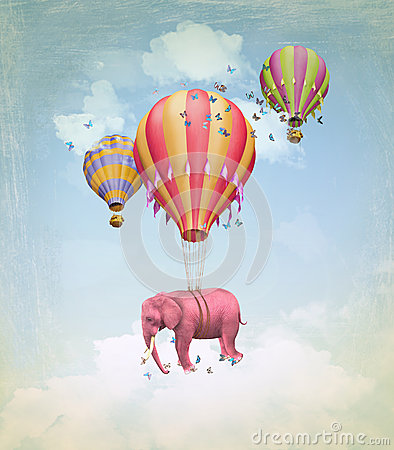 Free Pink Elephant In The Sky Royalty Free Stock Image - 30026056