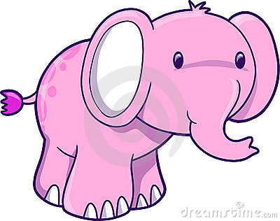 Pink Elephant Vector Illustration
