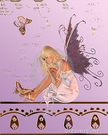 Pink Fairy with Butterfly Background