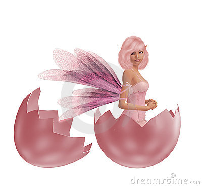 Pink Fairy In An Eggshell