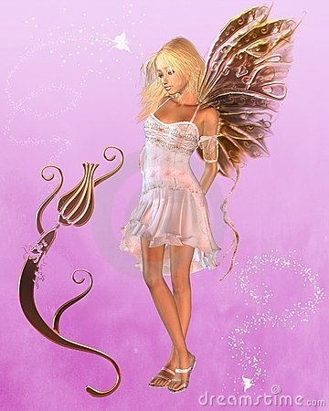 Pink Fairy with Magical Background