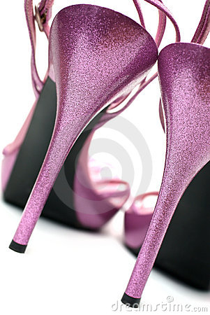 Pink fashion high heels shoes