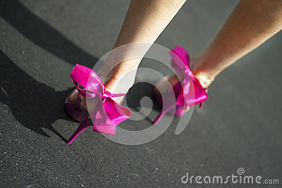 Pink female shoes