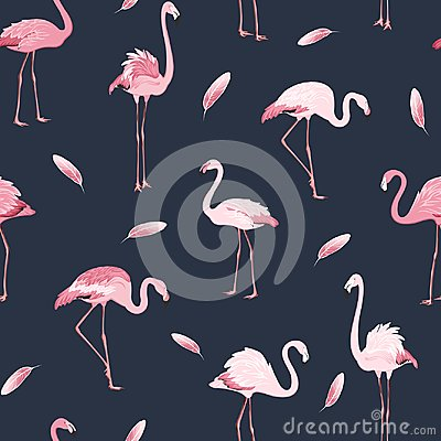 Free Pink Flamingo Birds Flock Feather Seamless Pattern Royalty Free Stock Images - 110905749