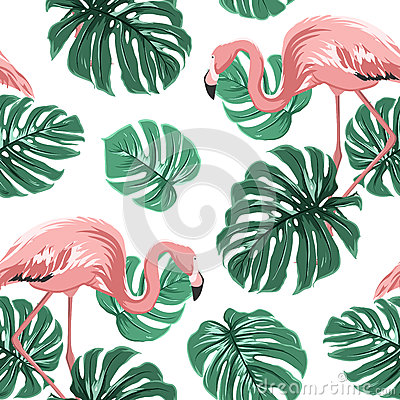 Free Pink Flamingo Birds Green Monstera Leaves Pattern Royalty Free Stock Image - 89017466