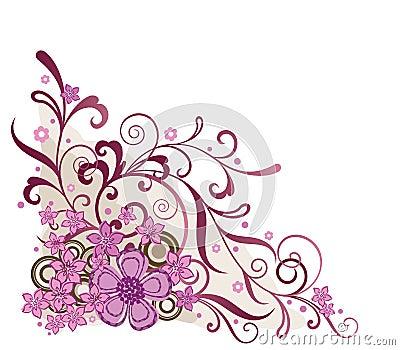 Pink floral corner design element