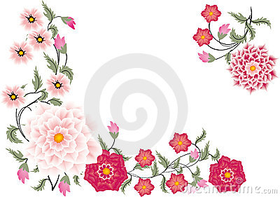 Pink floral corner on white
