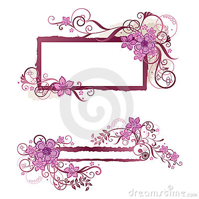Pink floral frame and banner design