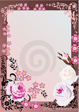 Pink floral frame with roses