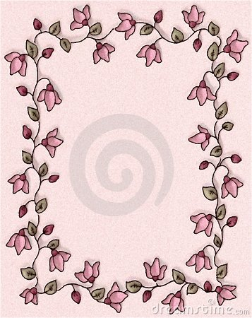 Pink Floral Photo Frame Border