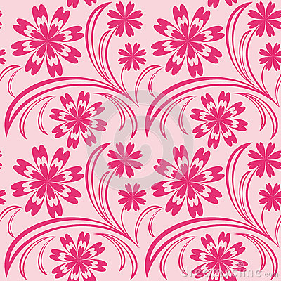 Pink floral seamless wallpaper.
