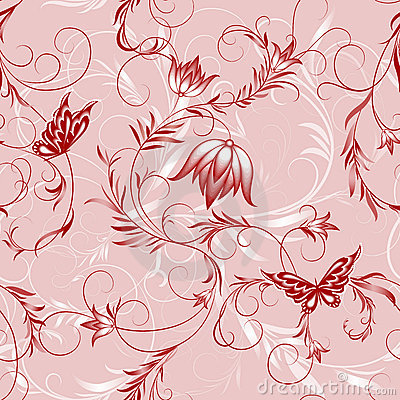 Free Pink Flower And Butterfly Pattern Royalty Free Stock Images - 13806589