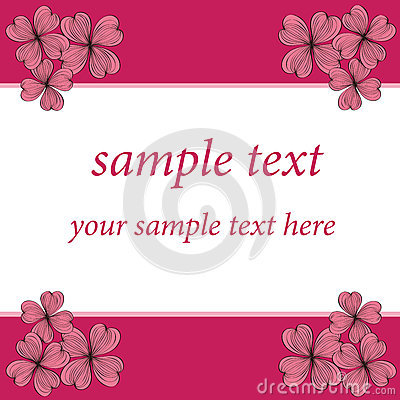Pink flower card pattern design