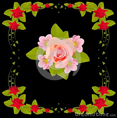 Pink flower design in red rose frame