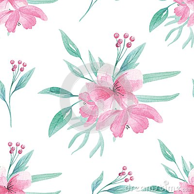 Free Pink Flower Pattern Seamless Floral Watercolor Aqua Green Leaves Leaf Berries Blooms Royalty Free Stock Photos - 111389818