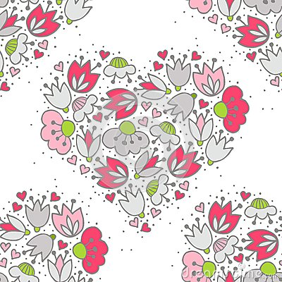 Free Pink Flowers And Hearts On White Romantic Seamless Pattern Stock Photo - 43987420