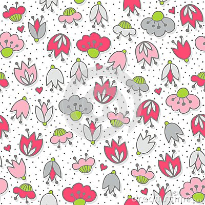 Free Pink Flowers And Hearts On White Seamless Pattern Stock Photo - 43987430
