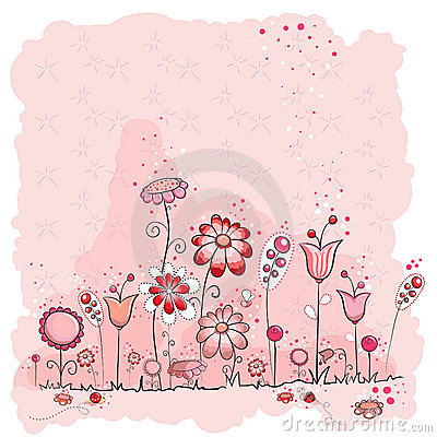 Pink flowers and insects greeting card